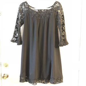 Muse black silk babydoll dress